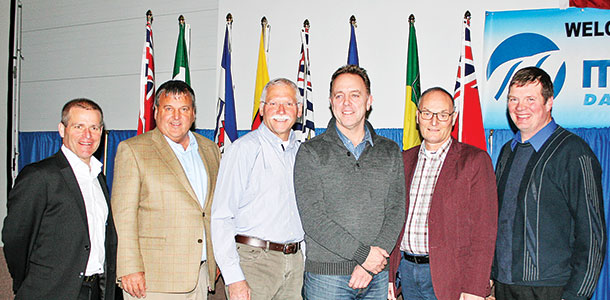Six dairy producers came together at the Global Dairy Summit to share what dairying is like in their part of the world. They included (from left to right) Tom Hoogendoorn, Canada; Dirk Young, U.S.; Lenny Kaplan, Israel; Berwick Settle, China; Bram Prins, the Netherlands; and Brian Anderson, Canada.