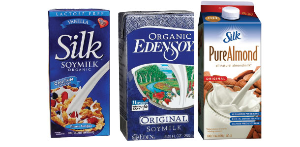 Images of Soymilk and Silk Almond Milk