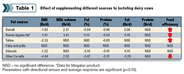Effect of different sources fed to cows
