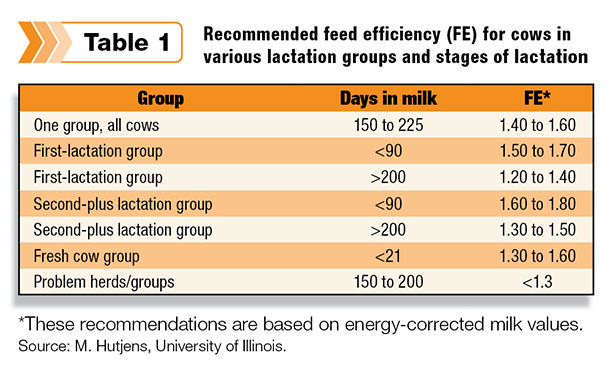 Feed efficiency for cows