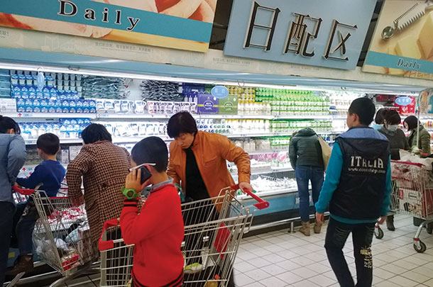 Larger Chinese grocery stores offer consumers much more milk products