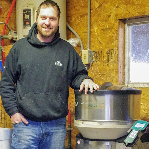 Wes Obert with auto calf feeder