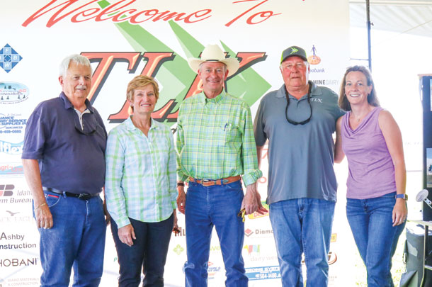 Among the dignitaries who attended the open house at TLK Dairy, owned by Terry Ketterling (second from right), were (from left to right) former Idaho Speaker of the House Bruce Newcomb, Director of the Idaho State Department of Agriculture Cecilia Gould, Lt. Governor of Idaho Brad Little and state representative Megan Blanksma.