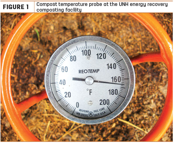 Compost temperature probe at the UNH energy recovery composting facility