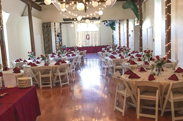 Barns' upper level is rented out for wedding and events