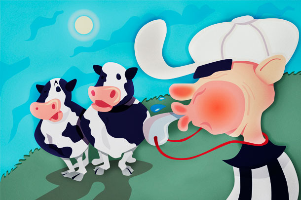referee and cows illustration