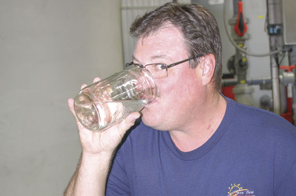 Jay Richardson is confident enough in the pathogen reduction and safety he takes a drink
