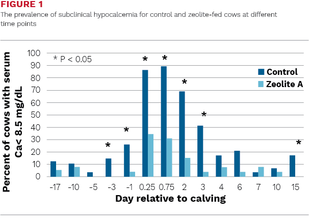 The prevalence of subclinical hypocalcemia for control and zeolite-fed cows at different time points