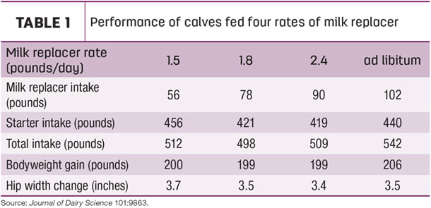 Performance of calves fed four rates of milk replacer