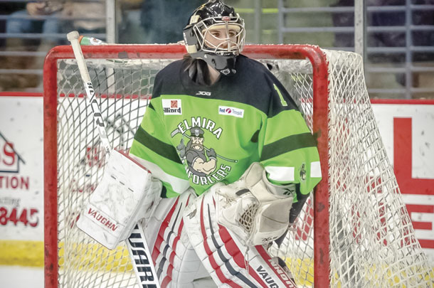 Hannah Cochran served as a goalie for the Elmira Enforcers men's hockey team