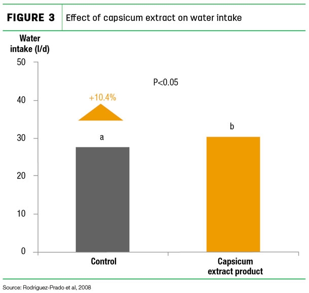 Effect of capsicum extract on water intake