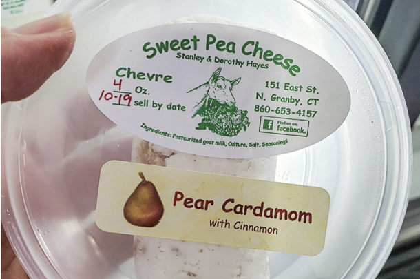 Sweet Pea Cheese -Chevre Pear Cardamom with Cinnamon
