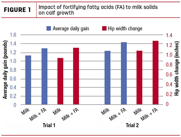 Impact of fortifying fatty acids to milk solids on claf growth