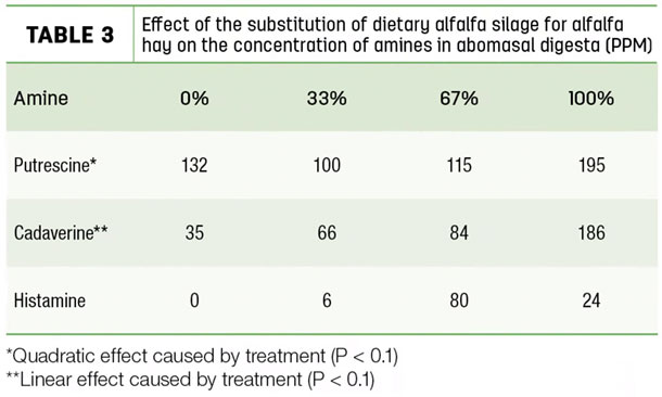 Effect of the substitution of dietary alfalfa a silage for alfalfa hay