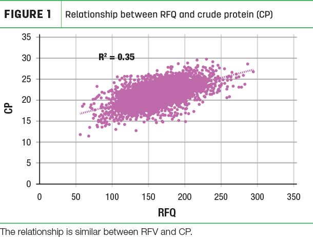 Relationship between RFQ and crude protein